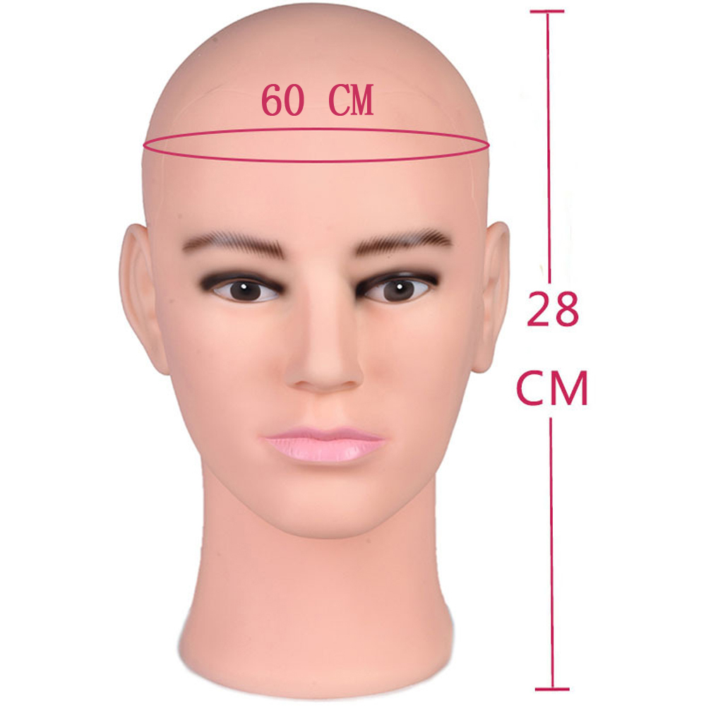 Male Mannequin Manikin Head Model Wigs Glasses Cap Display Stand 60cm Head circumference With Free Stand Clamp