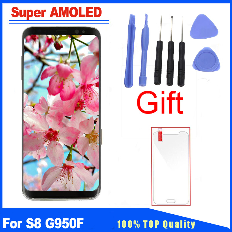 Super AMOLED Qualité Pour Samsung Galaxy S8 G950F G950 LCD Écran D'affichage Avec Cadre Assemblée Complet Remplacement