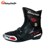 Riding Tribe Motorcycle Racing Boots Dirt Bike Off-Road Riding Sports Protector Shoes Motorcycle Motocross Racing Boots Black