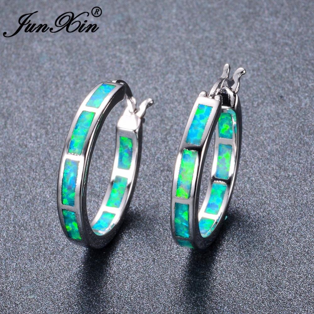 Detail Feedback Questions about JUNXIN Luxury Female Round Circle Hoop  Earrings Fashion Big Green Blue White Opal Earrings For Women Bride Cute  Wedding ... f7e6baf5fb08