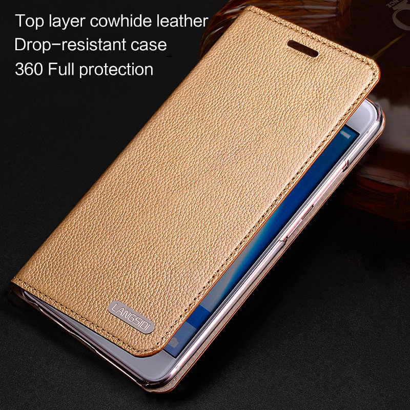 LANGSIDI leather Magnetic Flip cover For Xiaomi 9 9se mi 8 case with card slot stand real leather cover for xiaomi redmi note 5 in Flip Cases from Cellphones Telecommunications