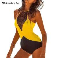 2016 Biquini Summer Print Mesh Hollow Bikini Sexy High Neck One Piece Swimsuit Women Bathing Suit