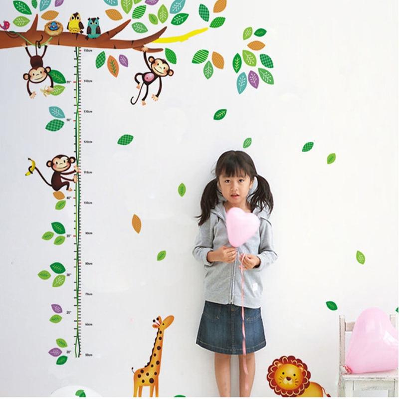 Cartoon Giraffe Monkey Δέντρα ύψος αυτοκόλλητο - Διακόσμηση σπιτιού - Φωτογραφία 4