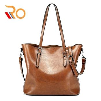 Fashion Handbag PU Oil Wax Leather Women Bag 2019 Large Capacity Tote Bag Big Ladies Shoulder Bags Famous Brand Bolsas Feminina