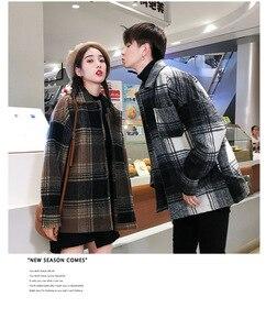 Image 4 - Abrigo de moda para hombre y mujer, abrigo de lana largo medio holgado de otoño.