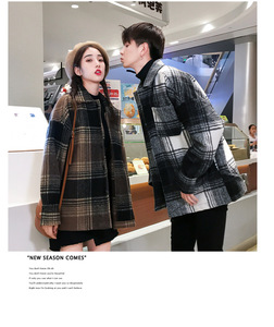 Image 4 - Mens and womens fashion coat in autumn loose  medium long checked woolen coat.