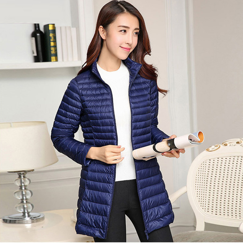 Spring Autumn Ladies White Duck   Down   Jackets Fashion Slim Women   Down   Jackets Long Casual Stand Collar   Down     Coats   Outwear RE2048
