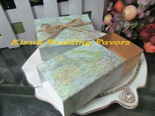 Travel Theme Wedding Sweet Box Of Map Favor With 2 Tie Ways