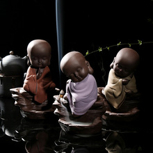 Authentic Purple Clay Exquisite Little Monk Smoke Backflow Incense Burner Ceramic Sandalwood Censer Home Decor Yoga supplies New