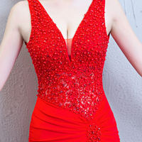 2018 new long red long section sexy dress deep V slim slimming nightclub catwalk dress