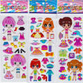 10 pcs/lot children cartoon stickers puzzle educational 3D stereo kindergarten reward bubble stickers girls dress