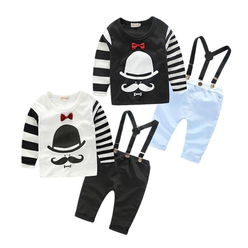 Детская одежда Симпатичные Борода футболка + повседневные Комбинезон Одежда для мальчиков джентльмен одежда для маленького мальчика