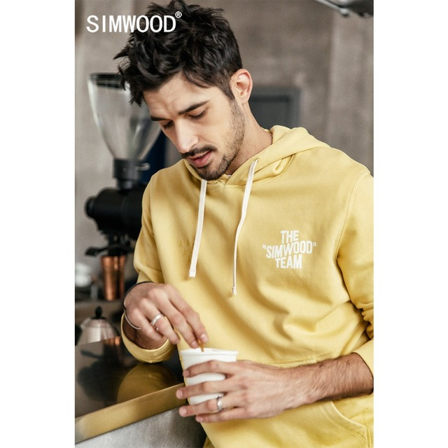 SIMWOOD 2019 Spring New Hoodie Men 100% Cotton Letter Print Hooded Sweatshirts Male Plus Size Casual Pullovers 190139
