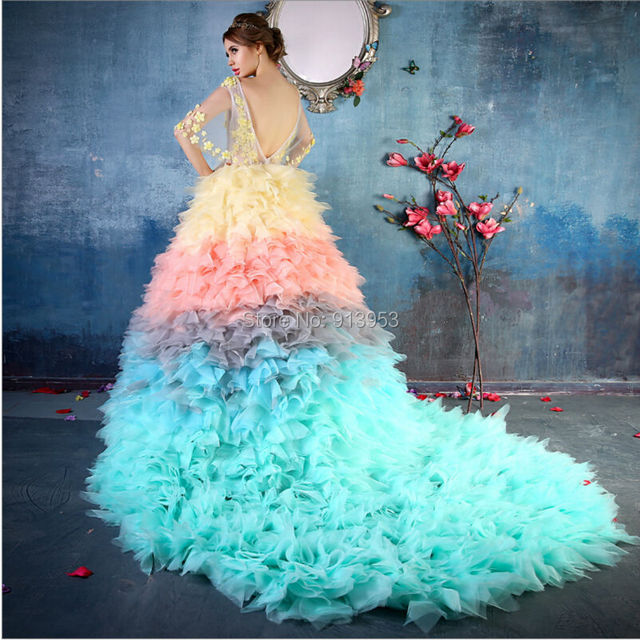 b67ae64747 Beautiful YQ4 AnnBridal Real Pictures Multi Color Sexy V Neck Organza  Ruffles Rainbow Colored Quinceanera Dresses 2016