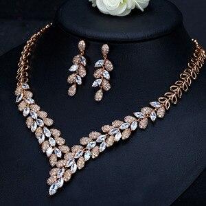 Image 3 - CWWZircons מדהים מעוקב Zirconia אבן דובאי שרשרת עגילי זהב נשים חתונה מסיבת אביזרי T288