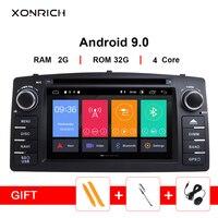 Xonrich Android 9,0 Автомобильный DVD плеер для Защитные чехлы для сидений, сшитые специально для Toyota Corolla E120 BYD F3 2 дин Мультимедиа Стерео gps Авто навиг