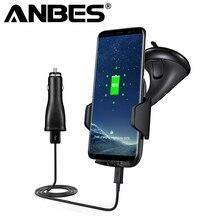Anbes Беспроводной автомобиля Зарядное устройство магнитный держатель QI Беспроводной мобильный автомобиля-зарядное устройство для iphone 8 10 x Samsung Galaxy Note5 S6 S7 S8 край