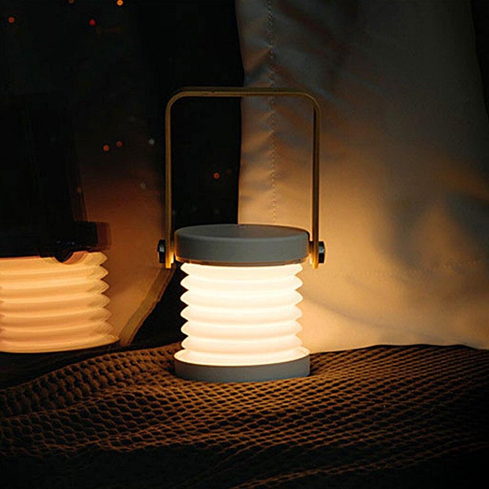 Lanterne Portable lumière Usb charge chambre chevet Led lecture éclairage rétractable lampe de Table pliante interrupteur tactile veilleuse