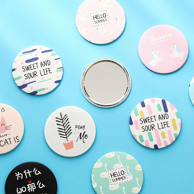 Round Mirror Cute Mirror Cartoon Personality Fashion Portable Round Mirror Mini Makeup Mirror Gift Giveaway