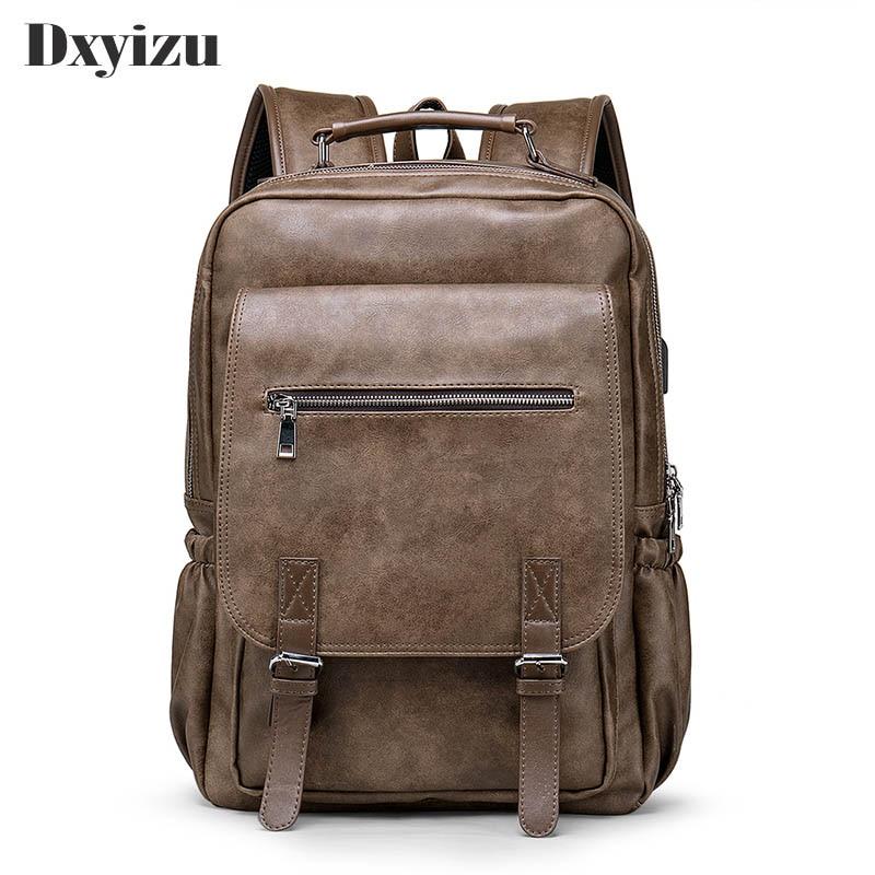 Luxury Brand Vintage Men Backpack For Teenage School Bags Male Large Capacity Laptop Backpacks Leather Travel Bags