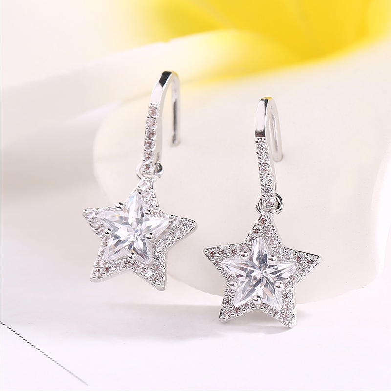 Fashion Delicate Cubic Zirconia Drop Earrings Trend Women Jewelry 2 Color Five-Pointed Star Crystal Dangle Earrings Party Gifts