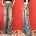 2017 Fashion Brand Women's High Waist Embroidery Jeans Woman Wide Leg Pants Lady Push Up Casual Loose Blue Denim Jeans Pants