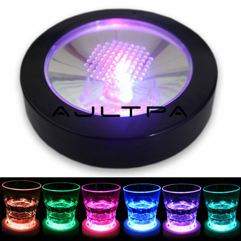 6pcs  Round Shape LED Coaster Light Up Bottle Cup Mat Light Flash Cup Mat Home Party Club Bar Christmas Supply
