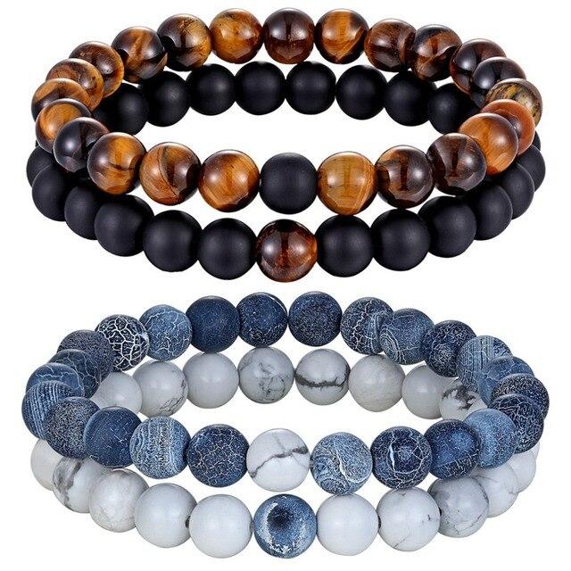 Hot 2 pçs/set 7 Estilo Casais Distância Pulseira Pedra Natural Yoga Frisado Pulseira para Mulheres Dos Homens Presente Amigo Charme Strand jóias