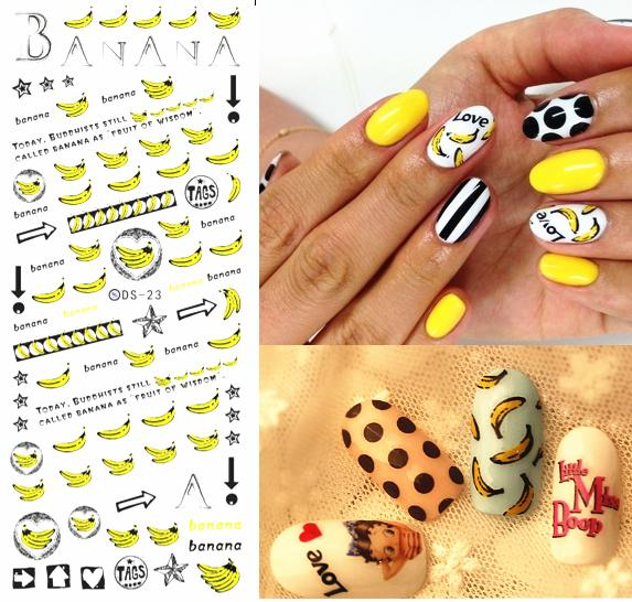 DIY Golden New 2016 Nail Art Tips Decoration Sticker for Nail Fingernails Wraps Glitter Banana Cute Water Transfer Stickers