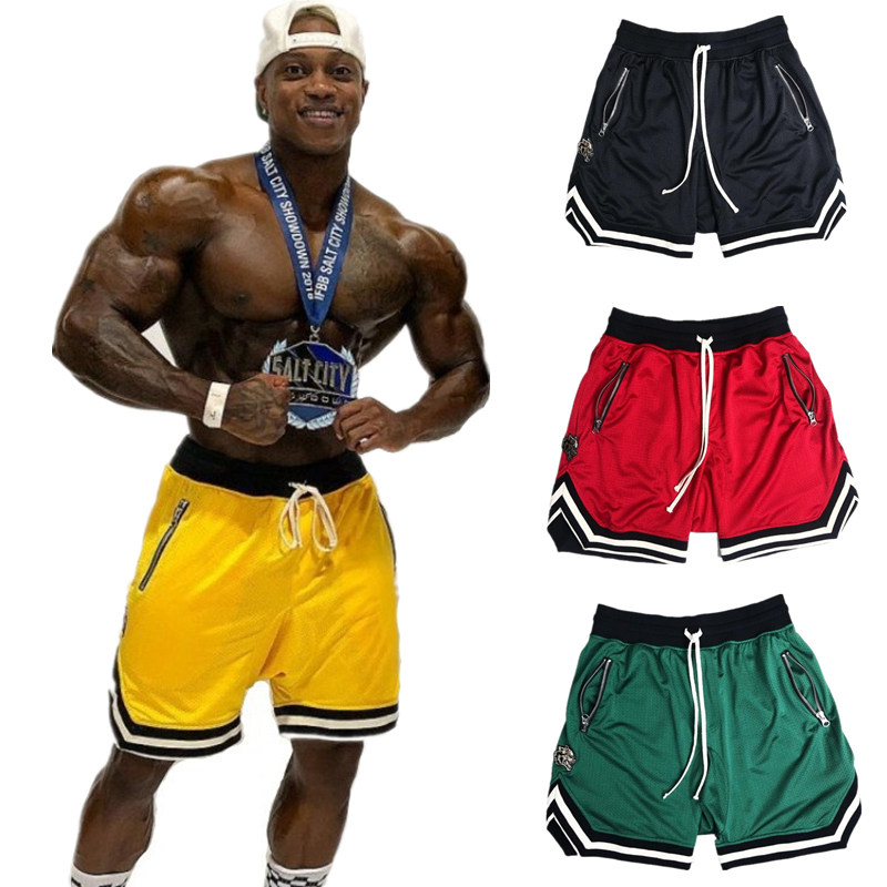 Men Summer Fitness Shorts Gyms Bodybuilding Workout Joggers Male Loose Breathable Mesh Short Pants Man Casual Beach Sweatpants