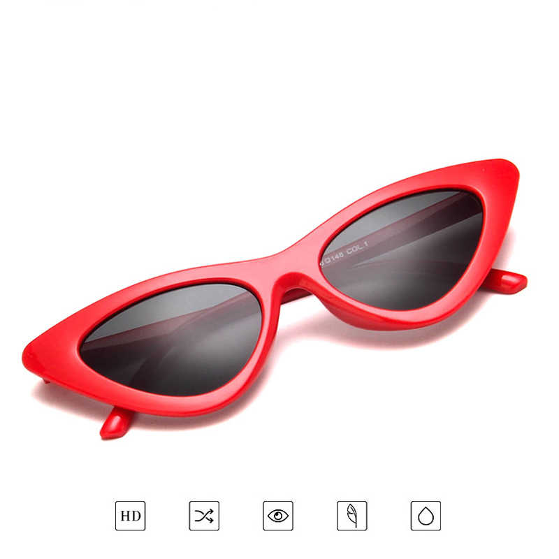 2018 Cat Eye Trendy Kleine Zonnebril Vrouwen Mannen Merk Designer UV400 Zonnebril Tinten PC Frame Platte Lens oculos de sol feminino