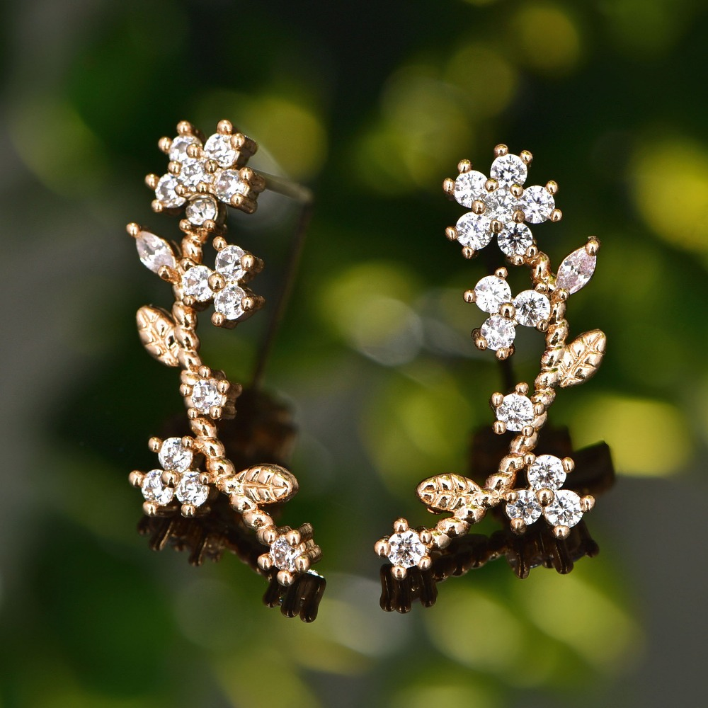 Josbores New Crystal Lady Gold Color Zircon Leaf Flower Stud Earrings for Women Girl Small Ear Cuff Clips Cuff Jewelry золотые серьги по уху