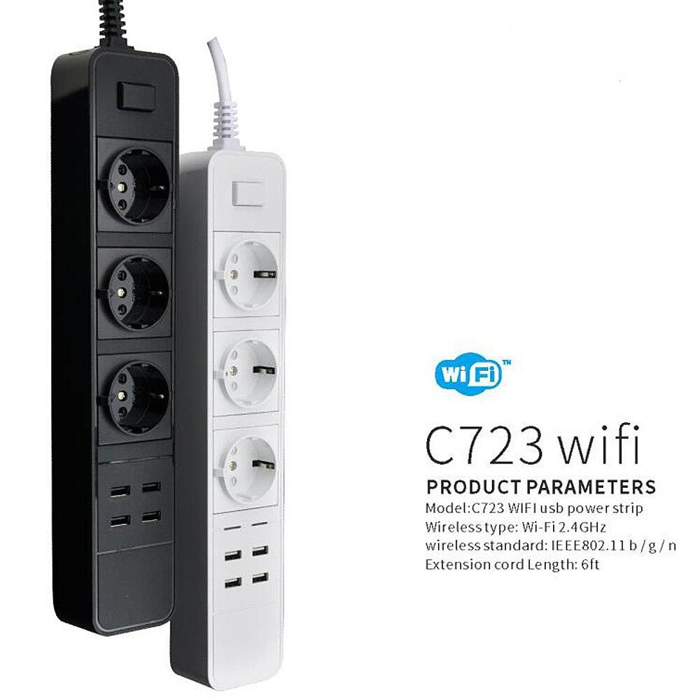 2019 Intelligente WIfi Prise 3 pièces Bouchon avec 4 pièces ports USB UE UK NOUS multiprise wifi