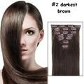 6A Indian Virgin Hair Clip In Straight Hair Clip In Human Hair Extensions 7pcs/Set #2 Darkest Brown Clip In Hair Extensions