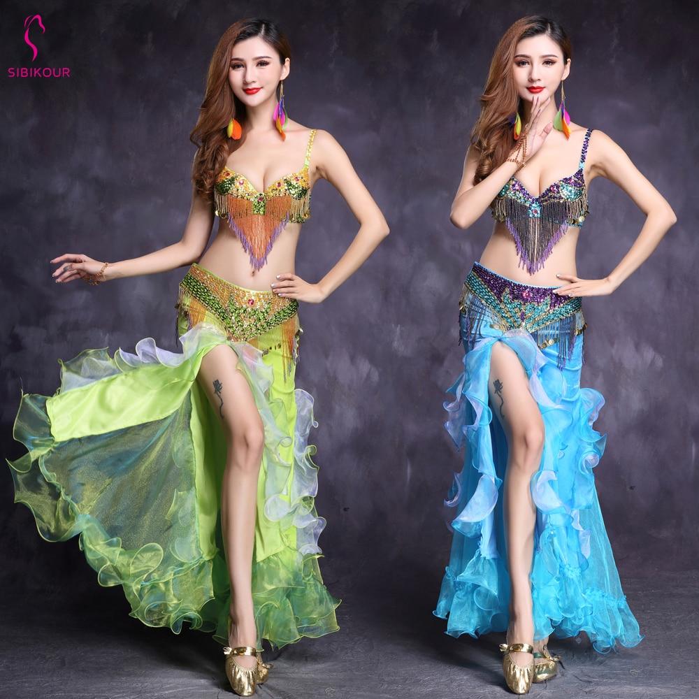 New Design Bellydance Costume For Women Belly Dancing Clothes Belly Dance Skirt Oriental Bollywood Bra BeltDress Set Adult 2019