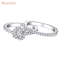 Newshe Unique Flower Shape Wedding Rings for Women 925 Sterling Silver 1Ct AAA CZ Engagement Ring Bridal Set