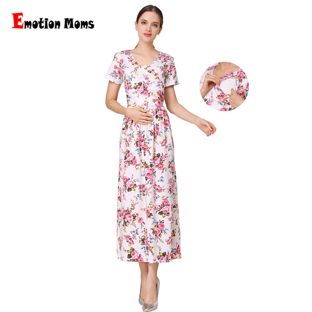 4ff7b28d1e69 Emotion Moms New Fashion Floral Maternity Clothes for Pregnancy  Breastfeeding Dresses for Pregnant Women Maternity Nursing Dress