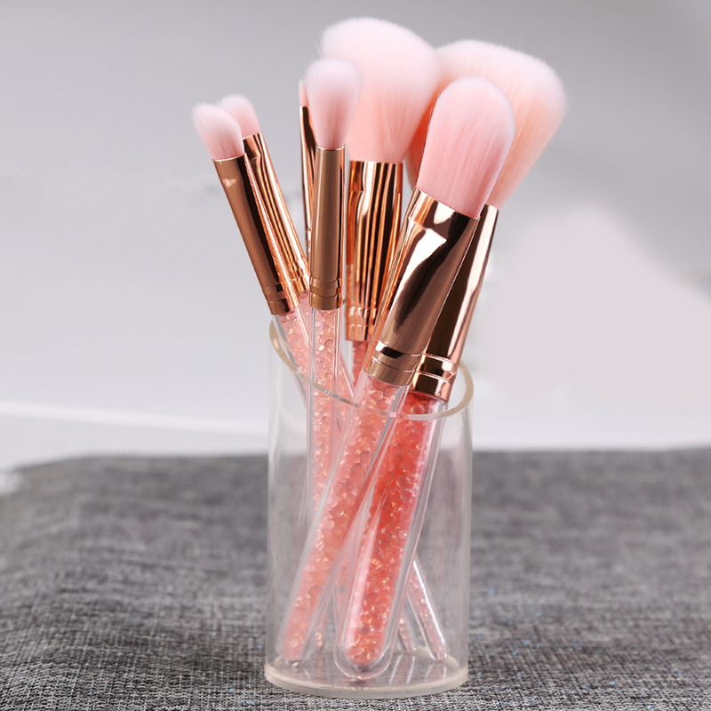 Zoreya Brand 8Pcs Pink Crystal Makeup Brush Set Eye Shadow Flawless Concealer Crease Eyebrow Foundation Brushes Face Brush Tools in Eye Shadow Applicator from Beauty Health