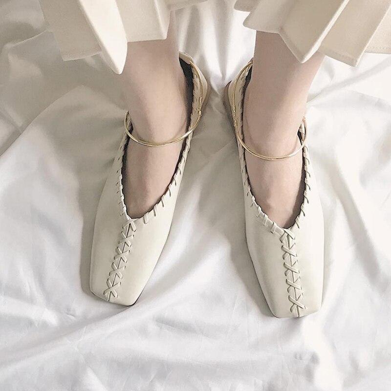 Show Ballet As De Para Dorado Zapatos Planos as Anillo Show Metal Con Verano Mocasines Casuales Mujer Cuero Suave Genuino fqUqvxw