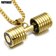 PF 2017 Newest Dumbbells Necklaces Gold/Silver/Black Color Pendant Chain For Men Choker Fashion Jewelry Gift Free Shipping