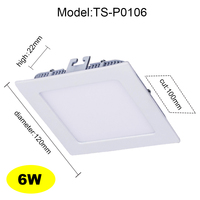 New Arrival Ultra Thin LED Panel Light Downlight Square Ceiling Recessed Lamp 6W 9W 12W 15W