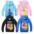 Pokemon go boys camiseta Elsa Anna camisolas Dos Desenhos Animados para Crianças com capuz T-shirts para Crianças Meninas Roupas primavera Criança outerwear