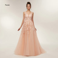 New Arrival Charming Prom Dresses 2018 Long V Neck Party Dresses Long Beading Open Back Evening Dresses Prom Party Dresses