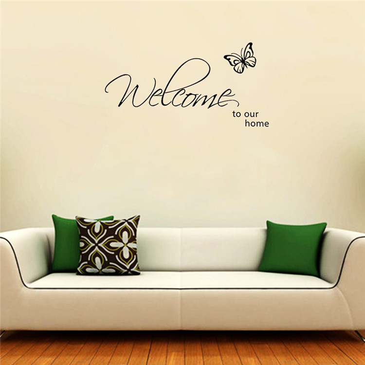 Promo Butterfly Welcome To Our Home Vinyl Wall Art Living Room