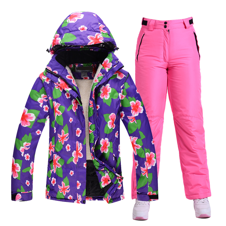 Mountain Skiing Snowboarding Waterproof Breathable Winter Wear  Couple Outdoor Suit Ski-suits-for-women Warm Snowboard Jacket gsou womens winter suit waterproof 10k breathable winter jacket pants women ski suit for mountain skiing and snowboarding sets