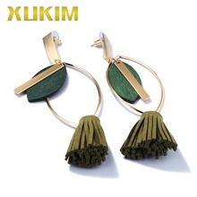 Xukim Jewelry Vintage Olive Green Leaf Tassels Drop Dangle Earrings Gold Color Fashion Gift for Women Ladies