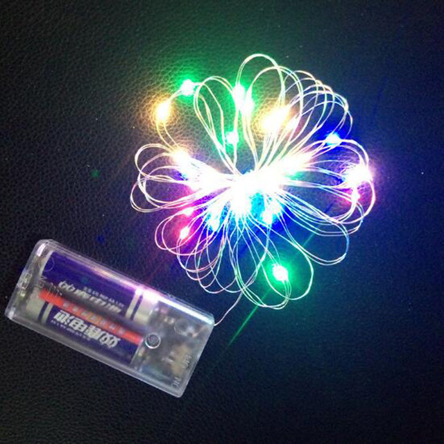 5pcs 6 Colors 3m Copper Wire LED String 2xAA Battery Case Balloon light For Indoor New Year Christmas Decoration