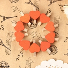 10Pcs Mini Hearts Wooden Pegs Clips Photo Craft Wedding Party Decor Decoration halloween or christmas gift