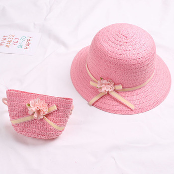 Cute Girls Straw Hat Sun Hat + Shoulder Bag Handbag 2pcs Sets for Summer Kid Princess Floral Beach Hats for Party Outdoor 2