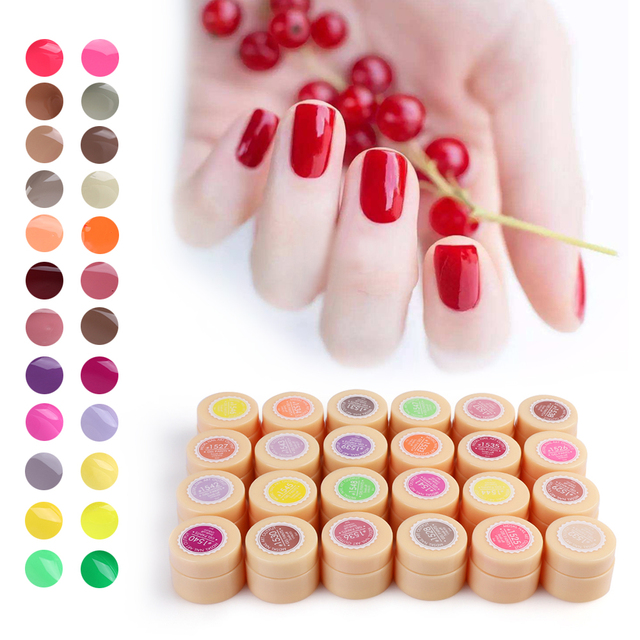 24Colors Nail Gel Lacquer Pure Color UV Gel Manicure DIY French Nail ...